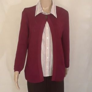 Jones New York Cranberry Red Cardigan - Size Small